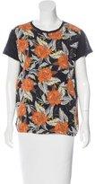 Proenza Schouler Floral Print Silk T-Shirt