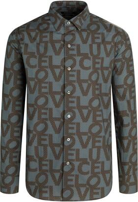 Bugatchi Shaped Fit Love Print Button-Up Shirt