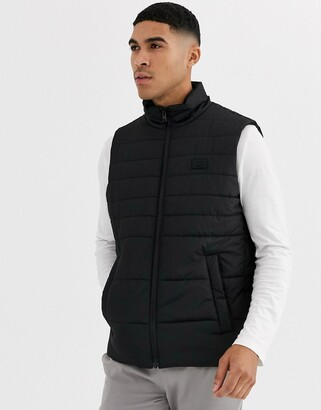 Jack and Jones hooded gilet in black