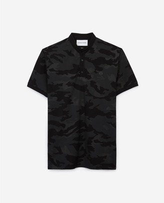 The Kooples Black slim-fit camouflage printed cotton polo