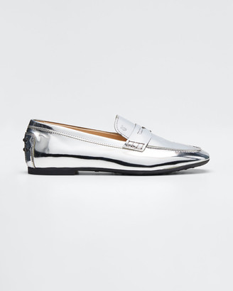 Tod's Metallic Patent Rubber-Sole Loafers