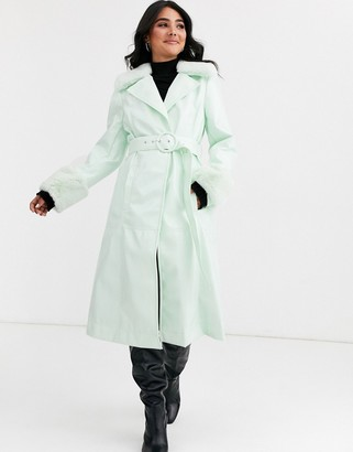 ASOS DESIGN high shine faux fur collar trench coat in mint