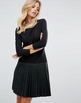 BOSS ORANGE Faux Leather Pleated Black Dress