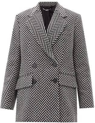 Stella McCartney Edith Double-breasted Chevron Wool-blend Coat - Black White