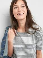 Gap Softspun Stripe Elbow-Length Sleeve Round Neck T-Shirt