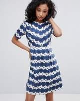 Yumi Striped Daisy Print Skater Dress