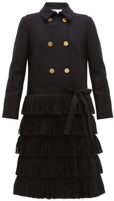 RED Valentino Bow Trim Fringed Wool Blend Coat - Womens - Black