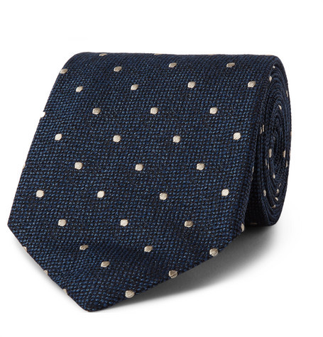 Tom Ford 8cm Polka-dot Silk And Wool-blend Tie - Storm blue
