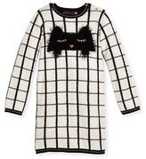 Catimini Long-Sleeve Check Sweaterdress, Ivory, Size 4