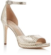Via Spiga Salina Embossed Metallic Ankle Strap High Heel Pumps