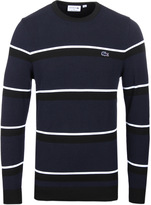 Lacoste Navy & Black Striped Crew Neck Sweater