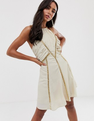 Asos Design DESIGN mini dress with ruched bodice and chain inserts-Cream