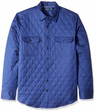 Nautica Men's Big and Tall Quilted Classic Fit Plaid Twill Button Down Shirt