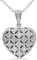Concerto Sterling Silver 0.145 TCW Diamond Heart Locket Necklace
