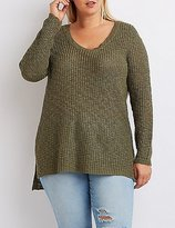 Charlotte Russe Plus Size Slub Knit Scoop Neck Sweater