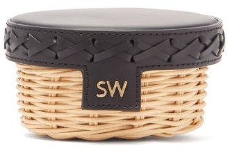 Sparrows Weave - Trinket Leather And Wicker Clutch - Womens - Black