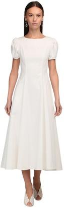 Luisa Beccaria Puff Sleeves Stretch Cotton Midi Dress