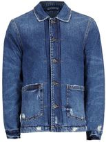 Topman Blue Faux Shearling Lined Denim Chore Jacket