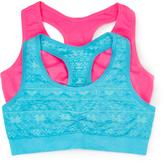 Pink Cookie Turquoise Jacquard & Neon Pink Sports Bra Set - Girls