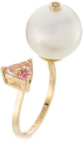 Delfina Delettrez 18kt Yellow Gold Trillion Ring with Diamond, Pearl and Topaz