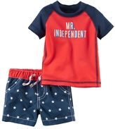 "Carter's Baby Boy Mr. Independent"" Rashguard & Star Swim Trunks Set"