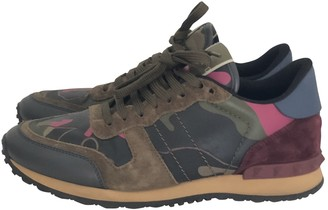 Valentino Rockrunner Khaki Suede Trainers
