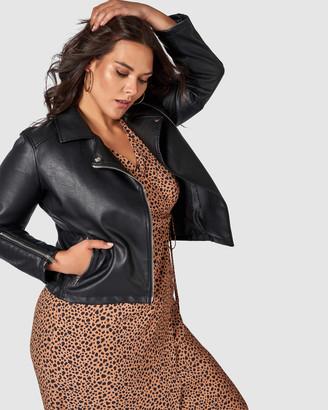 Something 4 Olivia - Women's Black Leather Jackets - Ally Biker Jacket - Size One Size, 10 at The Iconic