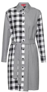 HUGO BOSS Relaxed Fit Shirt Dress With Mixed Checks - Patterned