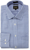 Neiman Marcus Luxury Tech Trim-Fit Twill Check Dress Shirt, Blue