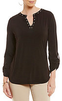 Investments Roll Sleeve Grommet Y-Neck Popover Top