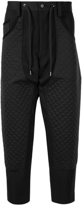 Fumito Ganryu Diamond Quilted Drop-Crotch Trousers