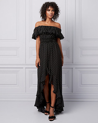 Le Château Dot Print Off-the-Shoulder Ruffle Gown