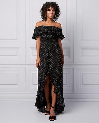 Le Château Dot Print Off-the-Shoulder Ruffle Gown