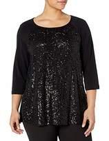 Karen Kane Women's Plus Size HI-LO Sequin Contrast TOP