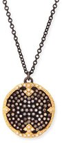 "Armenta Old World Midnight Pavé Diamond Disc Pendant Necklace, 32""L"