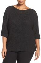 Eileen Fisher Plus Size Women's Bateau Neck Shimmer Merino Blend Top