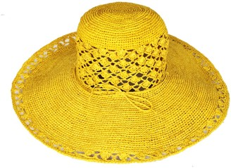 Maraina London Sofia Large Sun Hat Retro Style Beachwear- Yellow