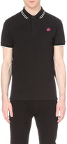McQ by Alexander McQueen Swallow embellished cotton polo shirt