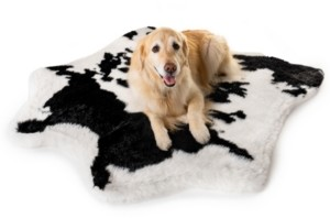 Paw Brands PupRug Black Faux Cowhide Memory Foam Bed