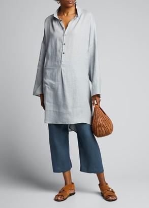 eskandar Linen Sloped-Shoulder Shirt