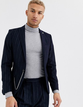 Twisted Tailor super skinny suit jacket in navy stripe
