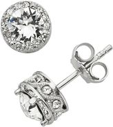 Diamond Essence Crystal & Diamond Accent Halo Stud Earrings - Made with Swarovski Crystals