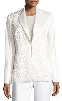 Akris Dotted Long-Sleeve Silk Jacket, Calla White