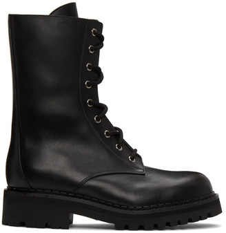 Moschino Black Lace-Up Ankle Boots
