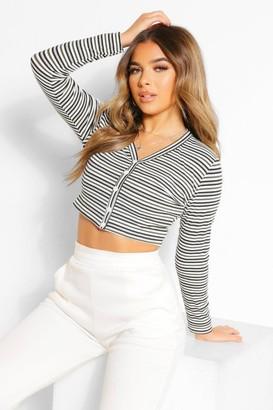 boohoo Petite Stripe Rib Button Detail Long Sleeve Top