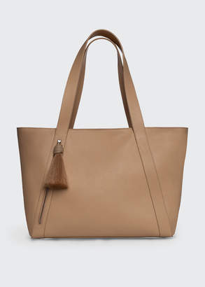 Akris Alexa Medium Leather Tote Bag with Tassel