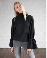 Express one eleven funnel neck tie sleeve sweatshirt