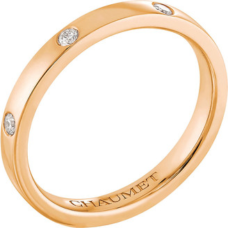 Chaumet Plume 18ct rose-gold and diamond wedding band