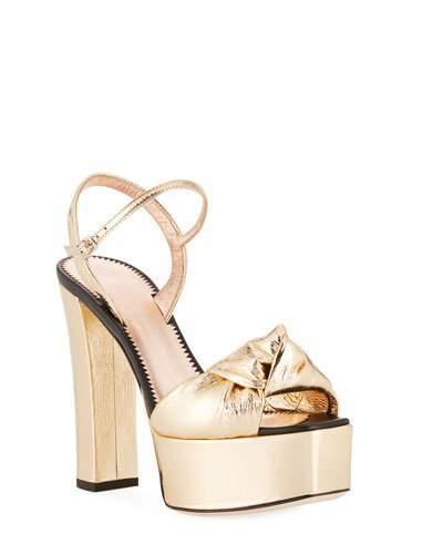 Giuseppe Zanotti Knotted Metallic Platform Sandals, Gold