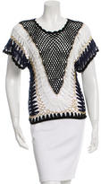 Alexis Mabille Chain-Link-Trimmed Crochet Top w/ Tags